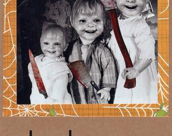 Original hand made creepy Halloween card Chucky kids