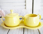 Retired Fiestaware Yellow Cream And Sugar With Tray Set 4 Piece Set Tea Party Shower Home Decor Gift For Her Collectable