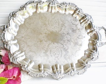 Vintage Shell Silverplate Tray With Handles Large Footed, 23 inch/ Butlers Tray/ Wedding Cake Stand/Tea Tray /Serving Tray/Home Decor