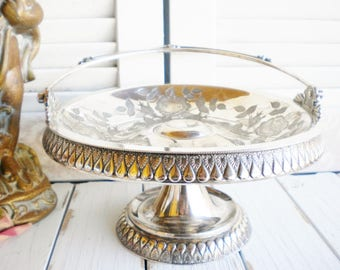 Art Deco Wilcox Silverplate Serving Basket With Handle/ Wedding Cake Stand/ Silver Dessert Stand/ Flower Basket/Something Old/ Home Decor