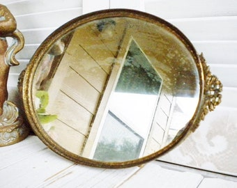 Antique Shabby Brocante Mirror Tray With With Bow Handles, Art Nouveau Brass Gold Footed Tray, Vintage Wedding, Boudouir Decor
