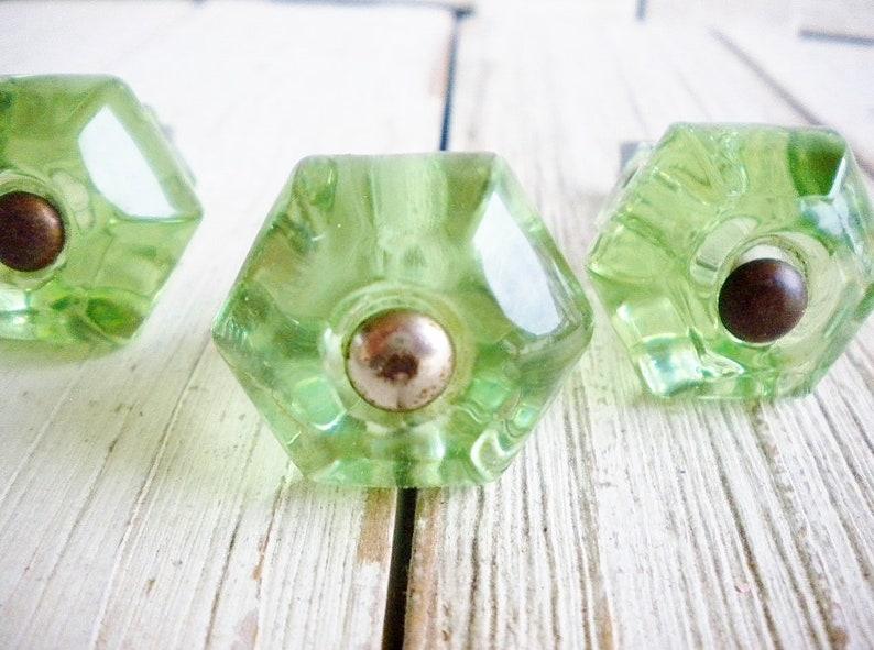 5 Coke Bottle Green Depression Era Glass Cabinet Pulls Drawer Handles Vintage