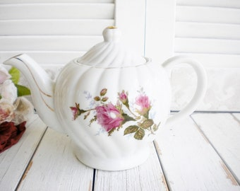 Shabby Chic Vintage Tea Pot With Lid Moss Rose Pattern/Japan/ Pink and Green/Tea Party Decor/ White Wedding China