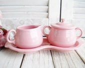 Fiestaware Rose Cream And Sugar With Tray Set Retired 4 Piece Set Tea Party Shower Home Decor Gift For Her Collectable