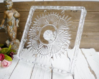 Shannon Crystal Glass Square Cake Stand, 14 Inch Romantic Modern Wedding Pedestal Cake Stand Dessert Table, Somethin Old