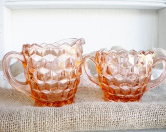 Vintage Cube Pink Depression Glass Cream and Sugar Set For Serving Table Wedding Vanity Powder Room Collectable Gift