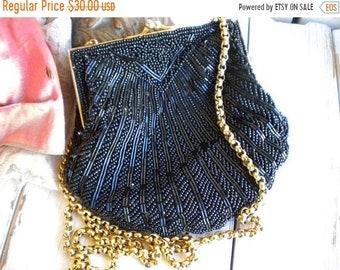 Sale Art Deco Black Beaded Purse With Gold Chain Carla Marchi , Black Shell Style Evening Bag, Wedding Purse, Vintage Bridal, Wedding Money