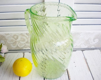 Vintage Green Uranium Glass Pitcher, Water Pitcher, Ice Tea, Glass Flower Vase, Cottage Chic, Rustic Wedding, Housewarming Gift,