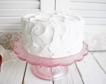 Blush Pink Depression Glass Cake Stand 7.5 Inch/ Vintage Wedding Cake Stand/ Cupcake Stand/ Shabby Chic Decor/Birthday Cake Stand