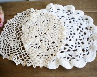 Shabby Lace Crochet Wedding Dollies Set of 2, White And Beige, Vintage Dollies, Rustic Wedding Craft Projects, Home Decor