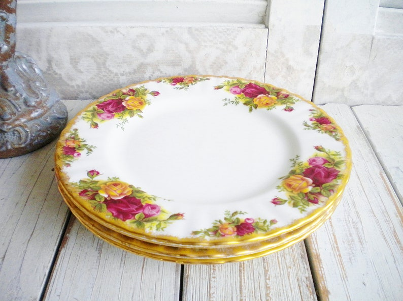 1962 Shabby Chic Tea Party Wedding Cake Plates Gift For Her Albert Country Roses Plate Set of 4