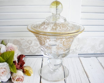 Art Deco Gold And Clear Glass Jar With Lid, Candy Jar, Vintage Storage Apothacary Jar, Weddng Decor, Home Decor