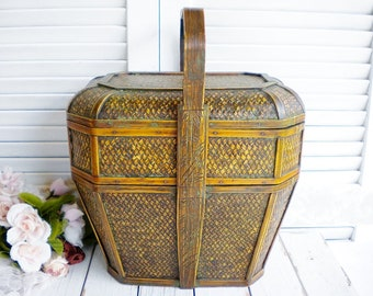 Boho Rattan Storage Basket With Handle And Inner Tray 3 Piece/ Rattan Picnic  Basket / Sewing Storage/ Mid Century Home/ Wedding Basket