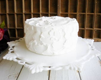 Westmoreland Milk Glass Cake Stand Vintage Cake Stand 11 Inch, Lowfooted /White Wedding Stand/ Dessert Stand /Budget Bridal