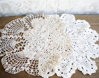 Vintage Crochet Lace Dollies Beige And Soft White, Vintage Wedding Dollies Set of 2/ Something Old/Shabby Chic Decor/Crafters Lot