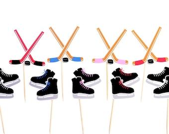 Hockey Cupcake Toppers / Hockey Party Picks / Hockey Birthday Decor / Hockey Party / Hockey Stick Toppers  / Hockey Skate Toppers