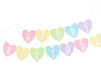 Pastel Rainbow Heart Banner - Pastel Heart Birthday Banner - Rainbow Birthday Banner - Rainbow Unicorn Birthday Banner - Rainbow Name Banner