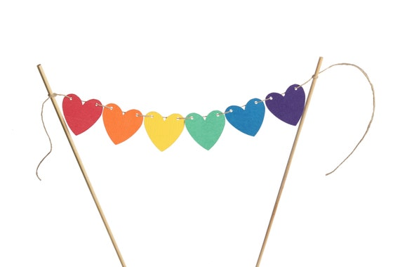 Rainbow Heart Cake Banner