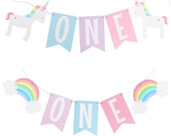 Pastel Rainbow Unicorn  Highchair Banner - Pastel Rainbow Birthday Banner - Unicorn Birthday - Rainbow Name Banner - Unicorn Name Banner