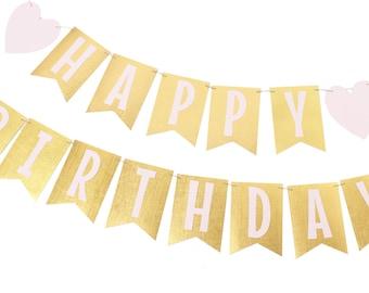 Pink and Gold Birthday Banner - Gold Birthday Banner - Gold Flag Banner - Pink and Gold Party  - Pink and Gold Birthday -
