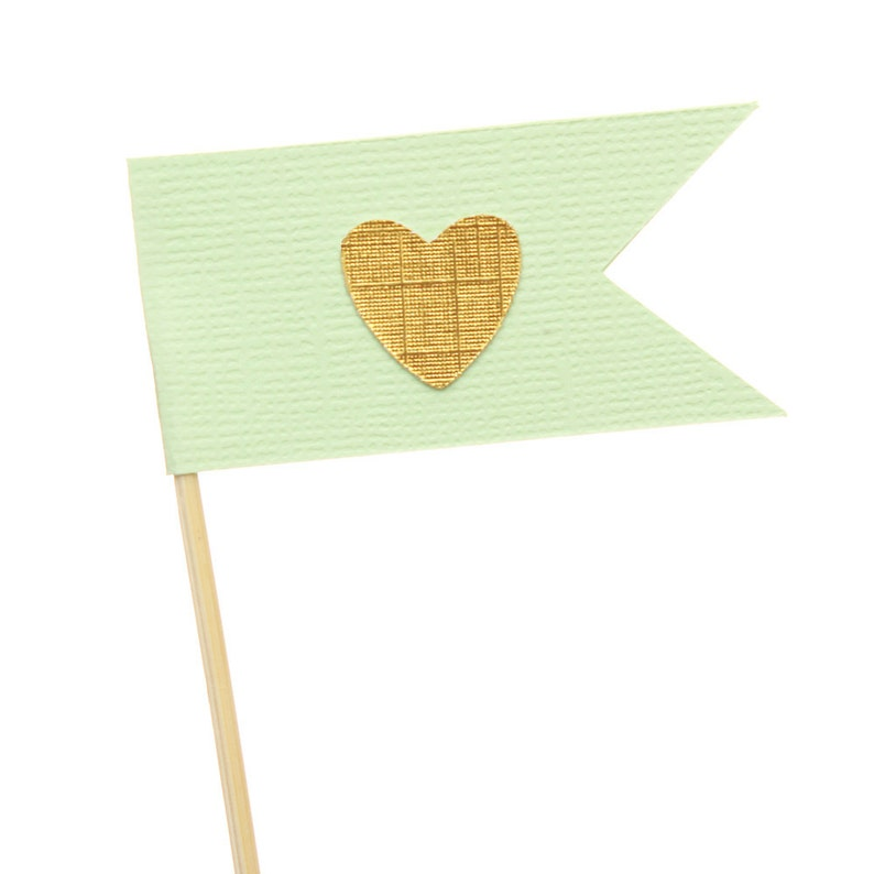 Mint Green and Gold Flag Heart Cupcake Toppers / Appetizer image 0