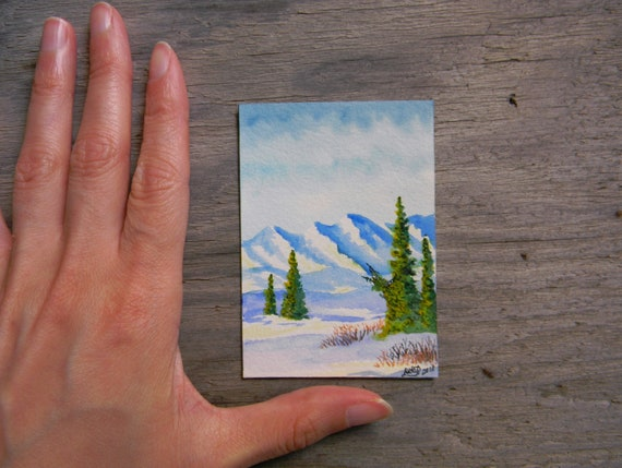 2.5 by 3.5 inches Aurora Watercolor Painting Miniature Watercolor Original ACEO