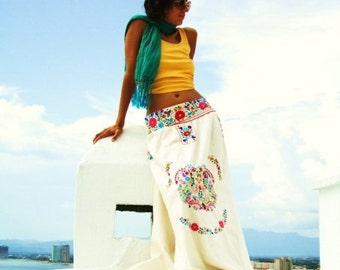 a7f6b645a1 Naitive Mexican Hand Embroidery Maxi Skirt