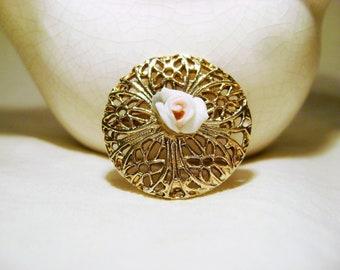 Vintage Brass Brooch - 1980s Gold Tone Flower Centrepiece