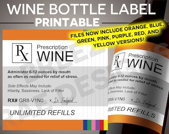 printable christmas wine label prescription wine instant download medicated wine rx