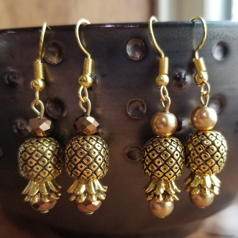 Silver and Gold Upside Down Pineapple Earrings
