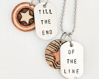 Till the end of the Line - Steve Rogers  Bucky Barnes - Captain America The Winter Soldier - Friendship Necklace - Marvel - Wood & Aluminum