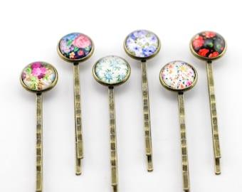 Floral Print Bronze Bobby Pins, Flower Power, Bronze Bobby Pins, Flower Print Bobby Pins, Fashion Accessory, Vintage Flower Bobby Pin