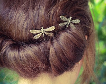 Dragonfly Bobby Pins, Set of Two, Antique Silver, Nickel Free Dragonflies, Dragonflies, Dragonfly Hair Clips, Silver Dragonflies