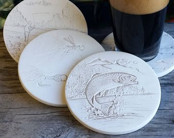 Set of 4 Absorbent Ceramic Tile Lodge Cabin OUTDOORSMAN Drink Coasters