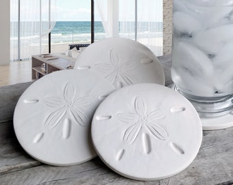 Sand Dollar Drink Coasters,  Absorbent Coasters, Set of 4, Beach Coasters, Housewarming, Hostess Gift, Beachlife, McCarter Coasters