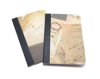 Notebook, Travel Journal, Sturdy Covered Notebook, Mini Notebook, Lined Notebook, Distressed Notebook, mini journal, Postcard Notebook