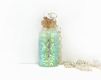 Green Glitter Bottle necklace Pendant