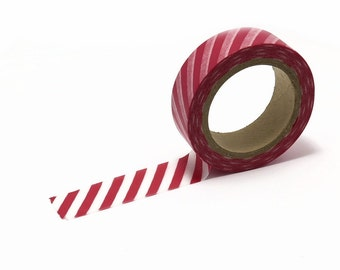 Washi Tape, Red and White Striped Washi Paper Tape