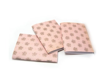 Mini Notebooks, Pocket Notebook, Soft Cover Notebook, Field Journal, Pink Notebook, Mini Journal, Shabby Notebook, Jotter, 4x3 Inches