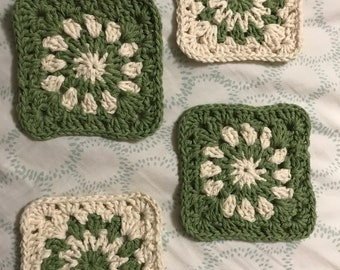 4 Sage Green and Cream Crocheted Coasters