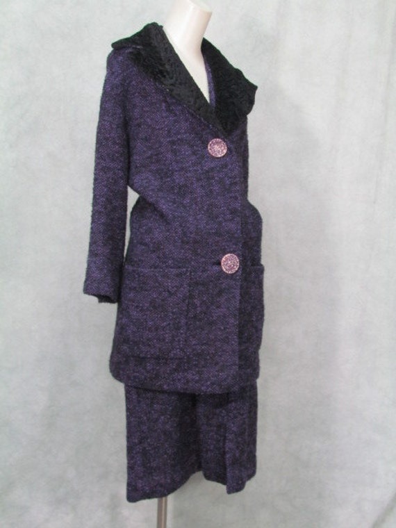 1950s Suit Purple Huge Pockets Big Buttons Big Col