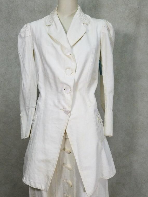 1915 Ladies Suit White Linen Suffragette Day Dres… - image 2