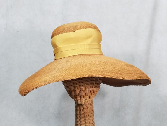 1950s Hat Huge Brim Straw Lilly Dache Vintage Stra