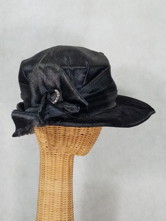 1910s Hat Black Suffragette Ladies Satin