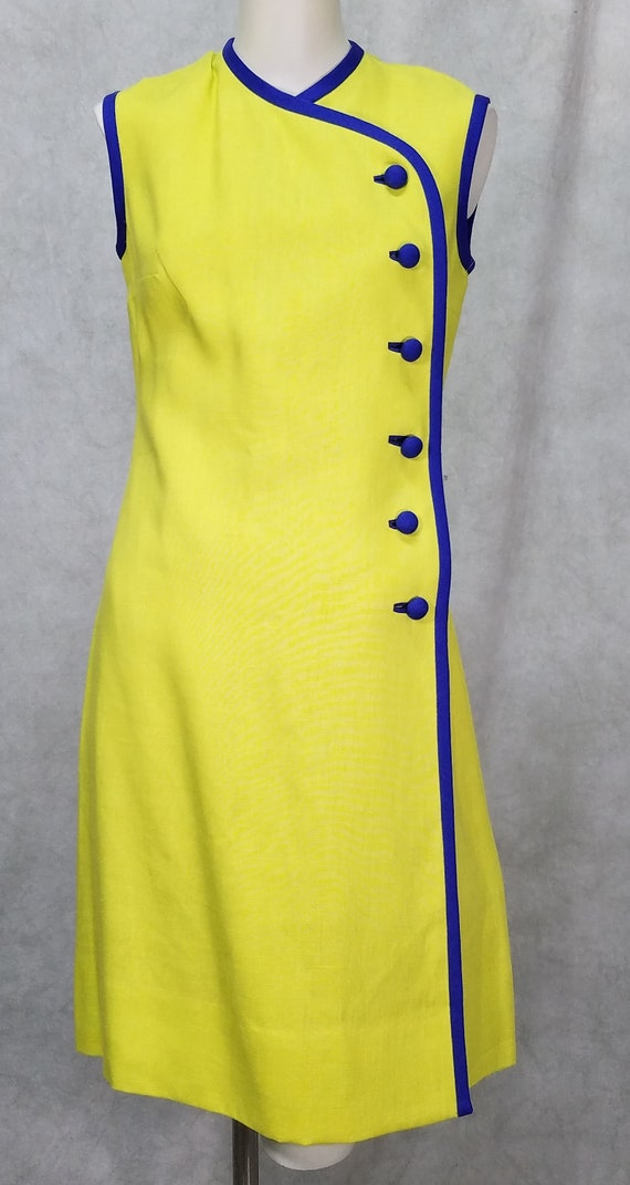 1960s Dress Anne Fogarty Linen Charturse and Blue