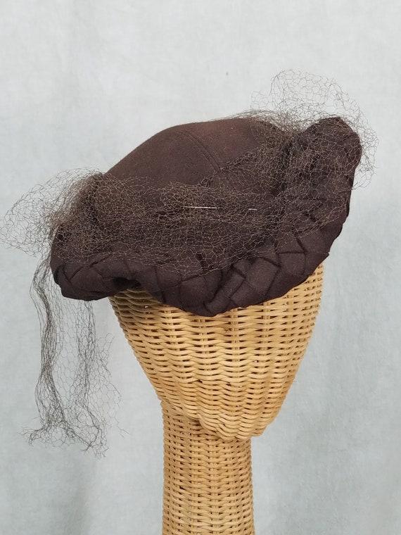 1930s Hat 1940s Hat Brown Tilt with Net