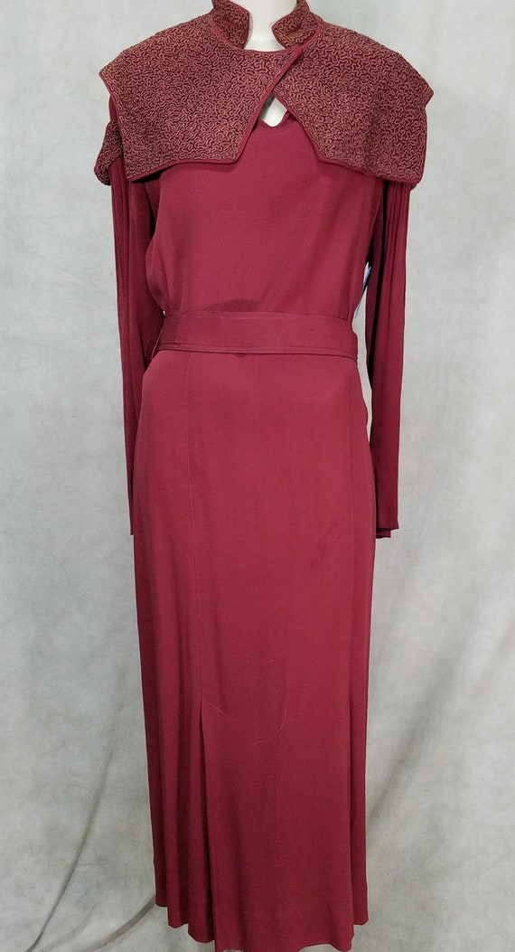 1940s Dress Cranberry Crepe 1930s Dress