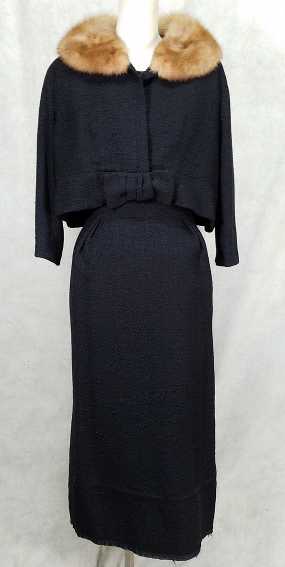 1950s Dress Ben Zuckerman 2 Piece Mink collar Wigg