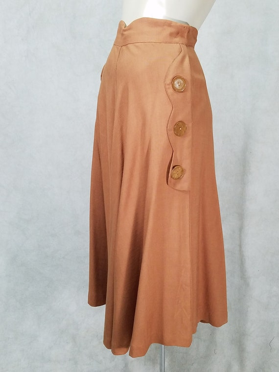 1940s Skirt Cute Button Sides Swing 40s Womens Vin