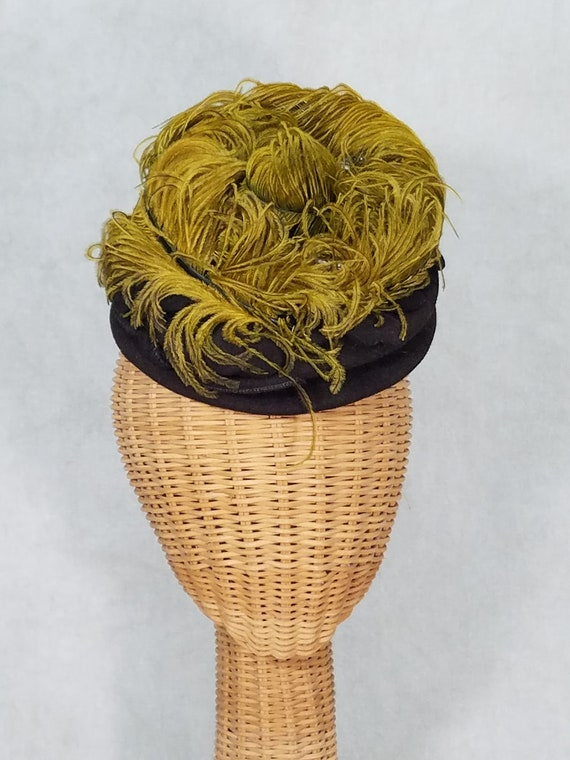 1940s Hat Feather Top Tiny Tilt Hat with Elastic B